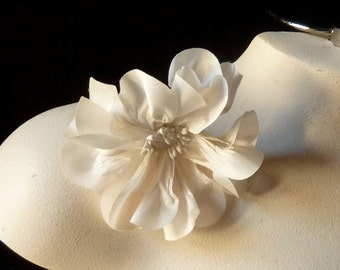 IVORY Poppy Small Silk Flower for Bridal, Millinery, Sashes, Corsages MF102sm