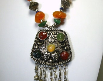 Tribal Agate and Silver Boho Necklace, 1970s Ethnic Filigree and Stone Fringed Pendant Centerpiece