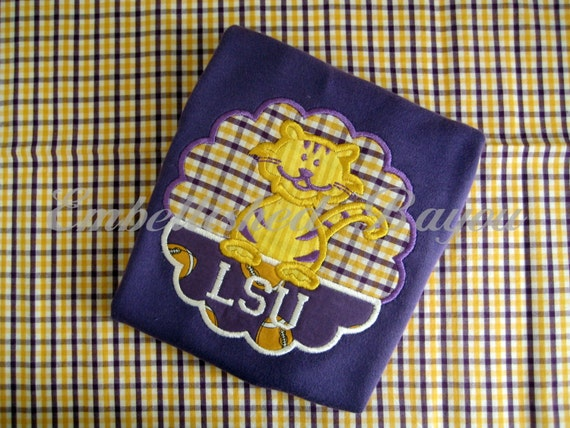 LSU Inspired Purple Onesie with Appliqued Tiger Patch and Personalization