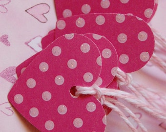 Sparkly Pink Polka Dot Heart Gift Tags -- Set of 12 Tags--Girl Birthday Party-Baby Shower Favor Tag-Bridal Shower Favor Tag- Ready to Ship