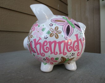 Butterflies-Personalized Piggy Bank-Large