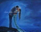 "Couple Mermaid Painting Mermaids Man Kissing Romance In Love Woman Ocean Seascape Fantasy Art ""Safe In Your Arms"" Leslie Allen Fine Art"