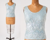 Vintage 1950s Beaded Shell, Blue Wool Knit Shell Top, Aurora Borealis Sequins, Made in Hong Kong