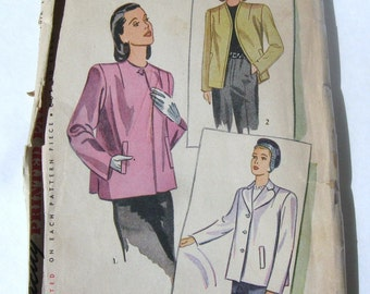 Unused 40s Vintage Simplicity 1219 Pattern, Blazer Jacket, Swing Style Short Coat Loose Fit, WWII 1944, Neckline Variation, Bust 32