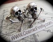 Silver Skull Cufflinks Men's Cufflinks Gothic Victorian Steampunk Cufflinks Pirate Cufflinks Small Size