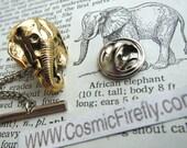 Gold Elephant Tie Tack Tiny Elephant Lapel Pin