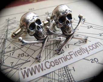 Silver Skull Cufflinks Men's Cufflinks Gothic Victorian Steampunk Cufflinks Pirate Cufflinks Small Size