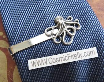 Silver Octopus Tie Clip Men's Tie Clip Steampunk Tie Clip Gothic Victorian Men's Accessories Men's Gifts New