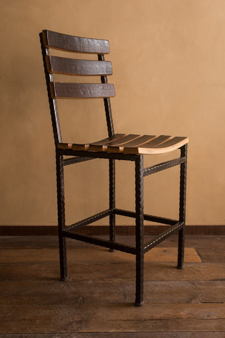 Wine Barrel Stave Stool With Metal Base 24