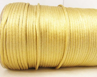 Gold Satin Cord 2 mm Cord macrame cord Kumihimo cord 2 yards satin cord Necklace Bracelet Jewelry Supply