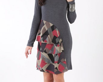 Long Sleeve Short Dress with Tiered Ruffles on One Side and a Turtle Neck Rib Collar