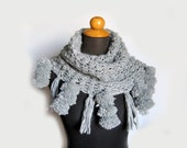 GREY NECK WARMER knitted chunky  scarf cowl,one of a kind