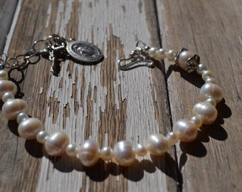 fatdog Rosary Bracelet - RB103 White Freshwater Pearls and Sterling Silver Chain - Adjustable Length