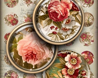 1 inch (25mm) circle images EVENING FLOWERS Printable Download Digital Collage Sheet for glass and resin pendants magnets key chains bezels