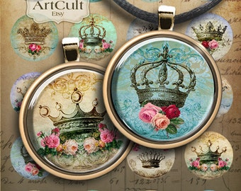 1 inch (25mm) and 1.5 inch images CROWNS Printable circles digital Collage Sheets for pendants magnets bezel trays bottle caps keychains