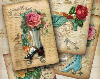 Printable Digital download VINTAGE SHUES print-it-yourself 5x3.5 inch size Greeting Cards Collage Sheet shabby chic roses ArtCult designs