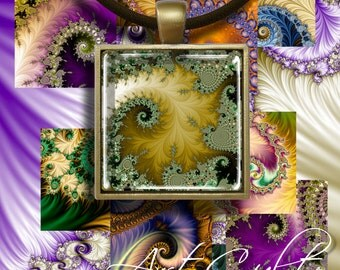 Digital Collage Sheets MAGIC FRACTALS Printable Download 1.5x1.5 inch and 2x2 inch size Images for pendants magnets paper craft ArtCult