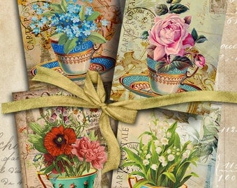 Printable Gift Tags CUP OF GARDEN Digital Collage Sheet 2.5x3.5 inch size images greeting cards Victorian Vintage scrapbook paper ArtCult