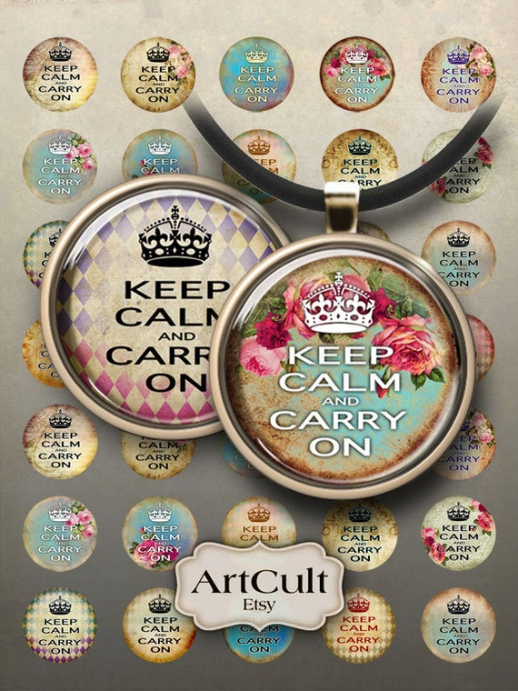 1 inch (25mm) and 1.5 inch size images KEEP CALM and CARRY On Digital Collage Sheets for glass and resin pendants, magnets bezel settings