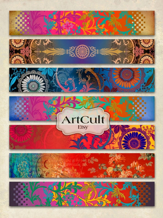 ART STRIPS No1 - Digital Collage Sheet for bracelets cuffs, bookmarks, borders, magnets, Printable 1x6 inch size images
