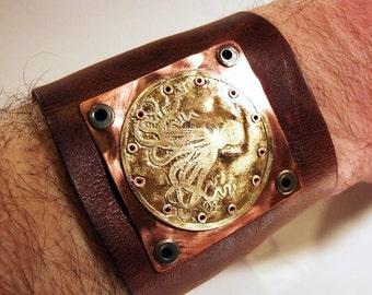 Steampunk Cuff, Men's Leather Cuff, Octopus Cuff Bracelet