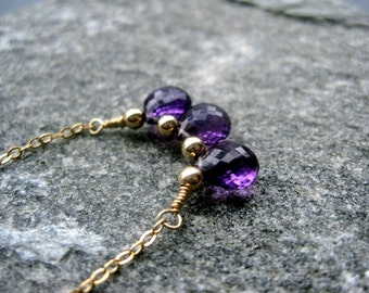 Gold Amethyst Necklace - Amethyst Gemstone Necklace - Purple Briolette Necklace - AAA Gemstone Necklace