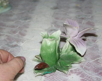 Vintage Capodamonte Lily Candle Holder