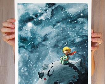 Little Prince Art - 11x14in Fine Art color archival print - Beautiful Space Painting