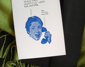 Letterpress Card, Mother Note Card, Blue and Black, 100% Cotton Paper, Black Envelope.