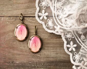 Pink Peony earrings - Pink flower jewelry -  Pink Petal jewelry - Pink Drop Earrings - Leverback Earrings - Pink oval earrings (E129)