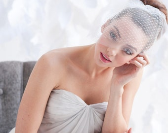 Double layer mini birdcage veil - ready to ship - FREE SHIPPING*