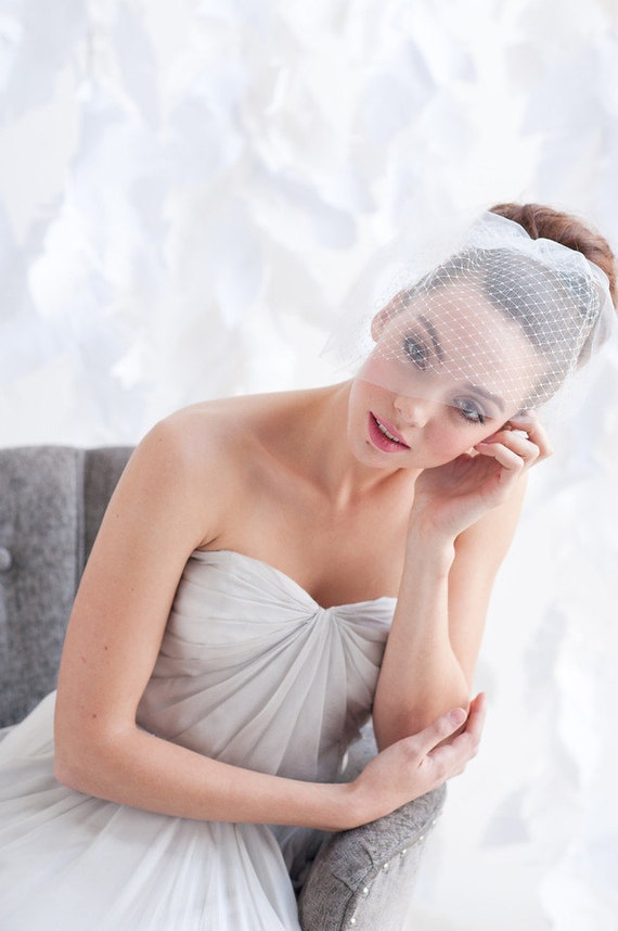 Double layer mini birdcage veil, birdcage veil, tulle birdcage veil, bridal veil - READY TO SHIP