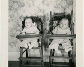 1950s Twin Baby Boys in High Chairs - snapshot 822