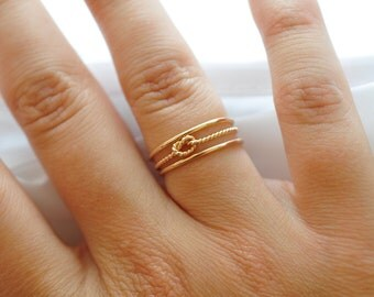 Yellow Gold Rings: Twist Knot & Gold Bands, Gifts under 50 Dollars
