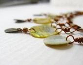 Ausverkauf - Anweisung Halskette - Kupfer Schmuck - rot Kupfer Halskette - weiße Muschelkette - Kupferdraht gewickelt handgemachten Schmuck