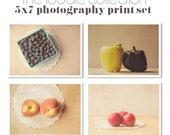 Save 20%, Food Photography Set, Four Fine Art Photographs, Berries Vegetables Collection, Kitchen Art Set, Farm Market Finds, Fruit