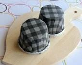 50 Black Gingham Baking Cups