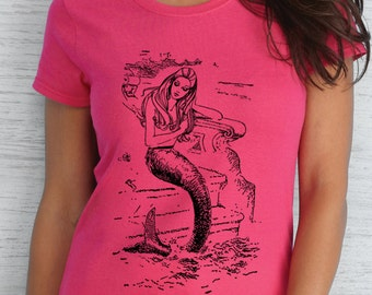 mermaid tshirt - mermaid shirt - womens tshirt - womens mermaid tshirt - mermaid gift - nautical shirt - beach cover up -surf shirt -MERMAID