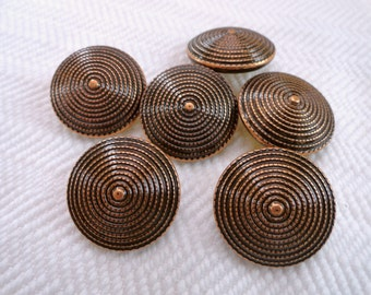 Copper Vintage Buttons - 6 Metal Blazer Buttons 3/4 inch 19mm for Jewelry Supplies Beads Sewing Knitting