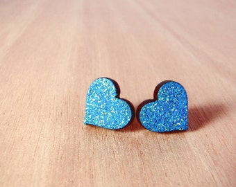 Glitter heart earrings - your choice of color