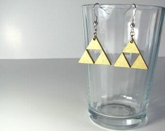 Zelda triforce gold hook earrings