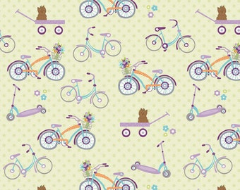 Riley Blake Designs Dress Up Day Green Bikes by Doohikey Designs