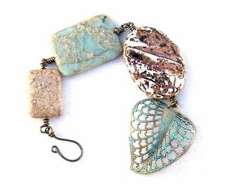 Rustic Beach Walk Gemstone Bracelet Turquoise Leaf Beaded Bronze