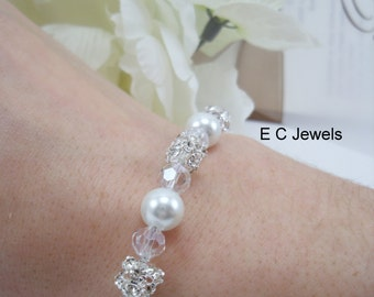 Elegance with Pearls and Crystals Bracelet
