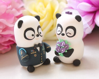 Wedding cake toppers Military Panda - US Army dress blue jacket uniform- bride groom figurines personalized unique wedding gift purple decor