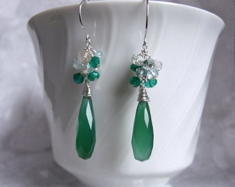 Green Chalcedony Earrings- Silver, Gemstone Cluster, Aquamarine, Green Onyx, Wire Wrapped