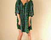 VINTAGE Oversized Geometric Turquoise Green Magenta Button-Up Tunic
