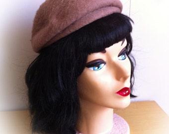 Vintage 1960s Roberta Bernays Hat Mod Mocha Brown