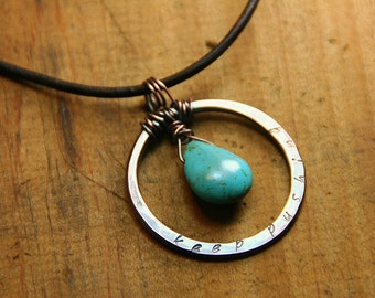 Custom Hand Stamped Inspiring Copper Hoop and Turquoise Dangle Pendant - Personalized Message - Gifts for her - Bridesmaids