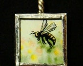 Just Bee - Pendant - soldered art and glass
